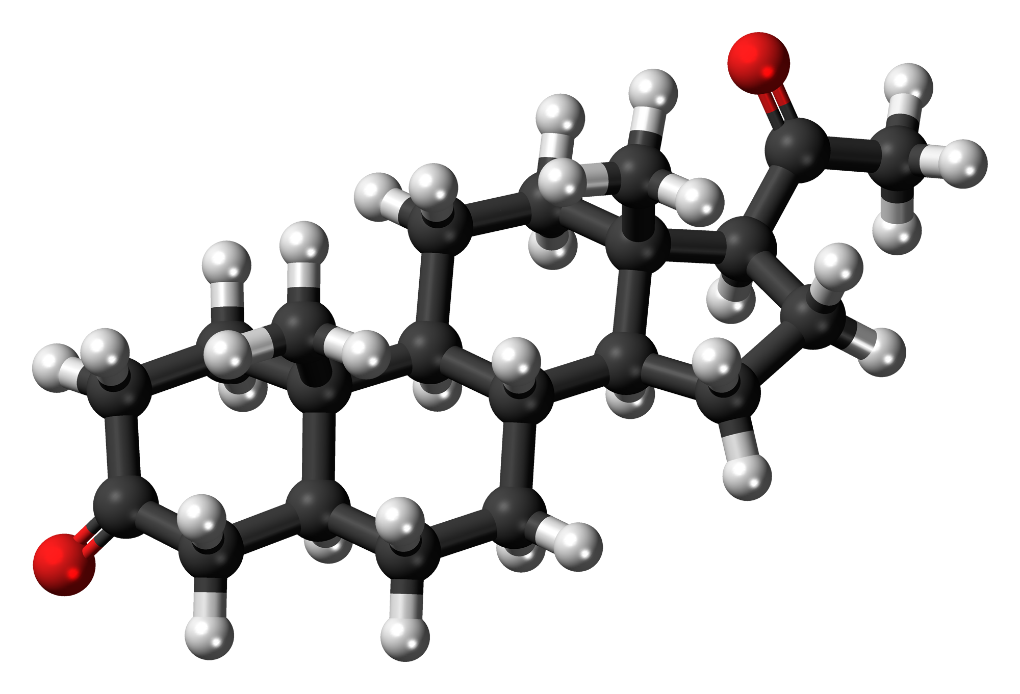 Image shows a ball and stick diagram of the steroid progesterone. Progesterone consists of four fused carbon rings.