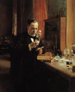 A painting showing Louis Pasteur sitting in his lab examining a substance in a bottle