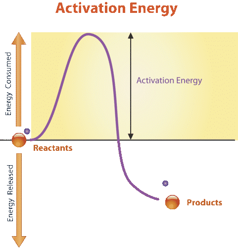 Image shows a graph of the energy change during a chemical reaction. The reactants have a higher energy level than the products, implying that the reaction is exothermic. However, the reaction cannot occur spontaneously, it requires a small input of energy to get started. This input of energy is the activation energy.