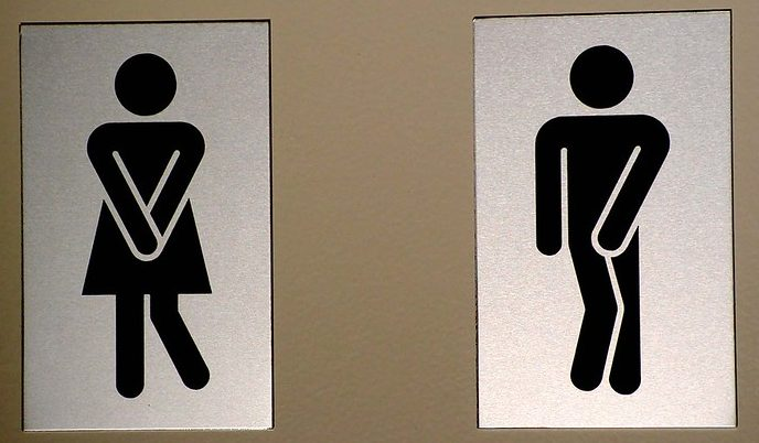 Signs for mens and women's washroom.
