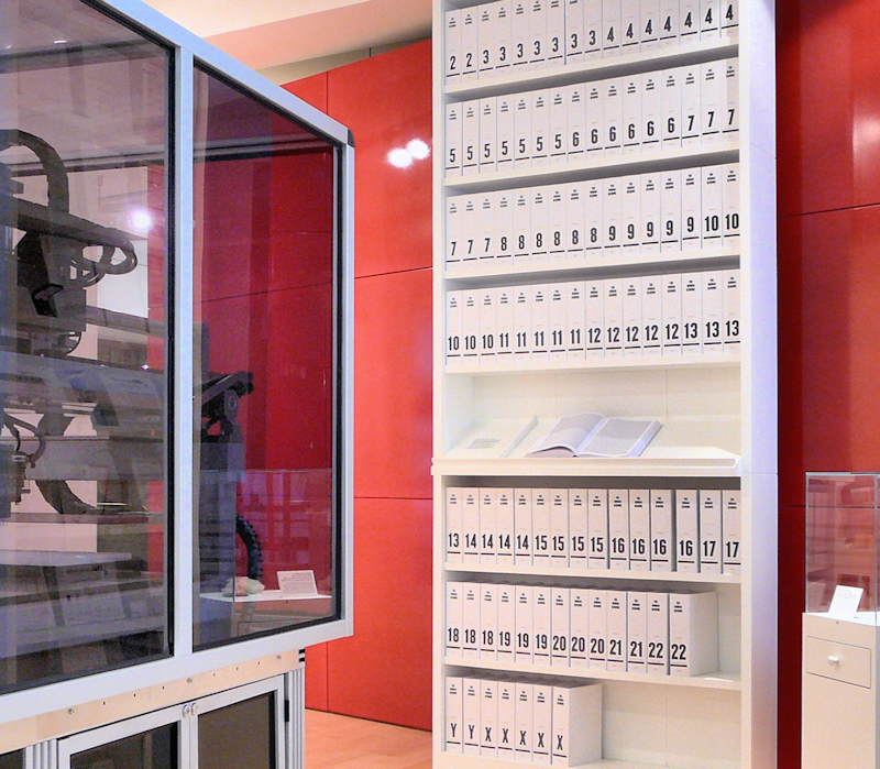 "The first printout of the Human Genome presented as a series of books, displayed in the ""Medicine Now"" room at the Wellcome Collection, London."