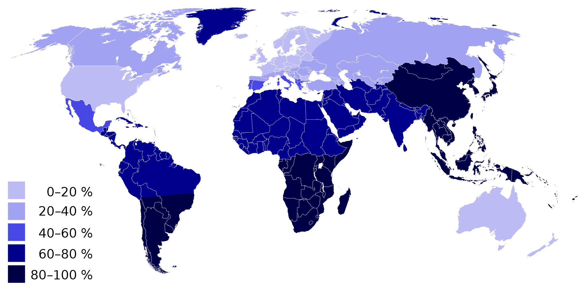 Worldwide map of Lactose Intolerance