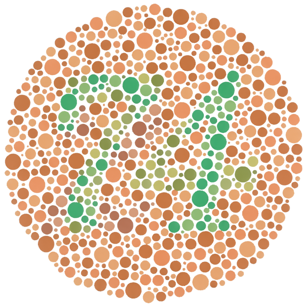 Shows a Ishihara plate for detecting red-green colour blindness.
